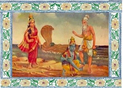 Вишну массирует стопы Бхригу Муни